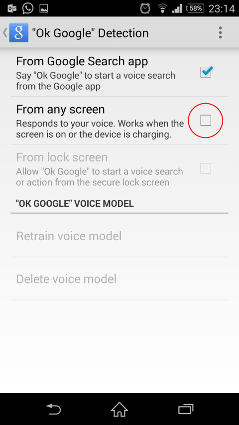 from any screen option