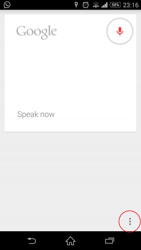 ok google menu option